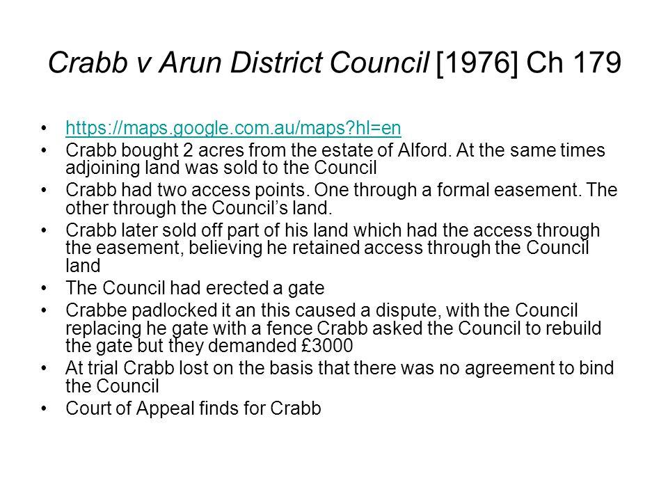 Crabb v Arun District Council [1976] Ch 179